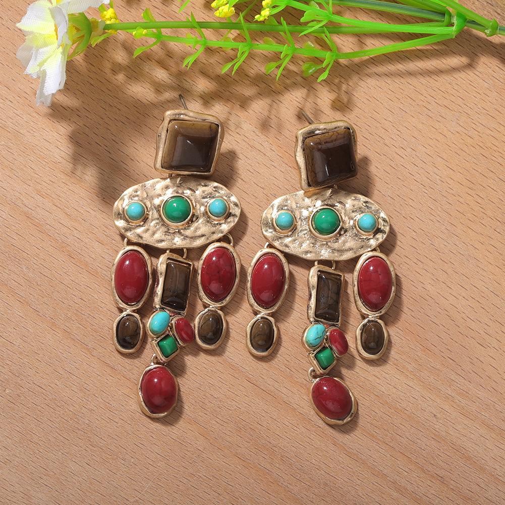 new retro palace gemstone earrings Bohemian ethnic style exaggerated earrings wholesale nihaojewelry NHJQ225322