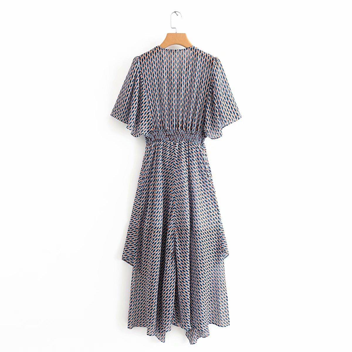 Wholesale Spring Asymmetric Printed Elastic Waist Maxi Skirt NHAM201589