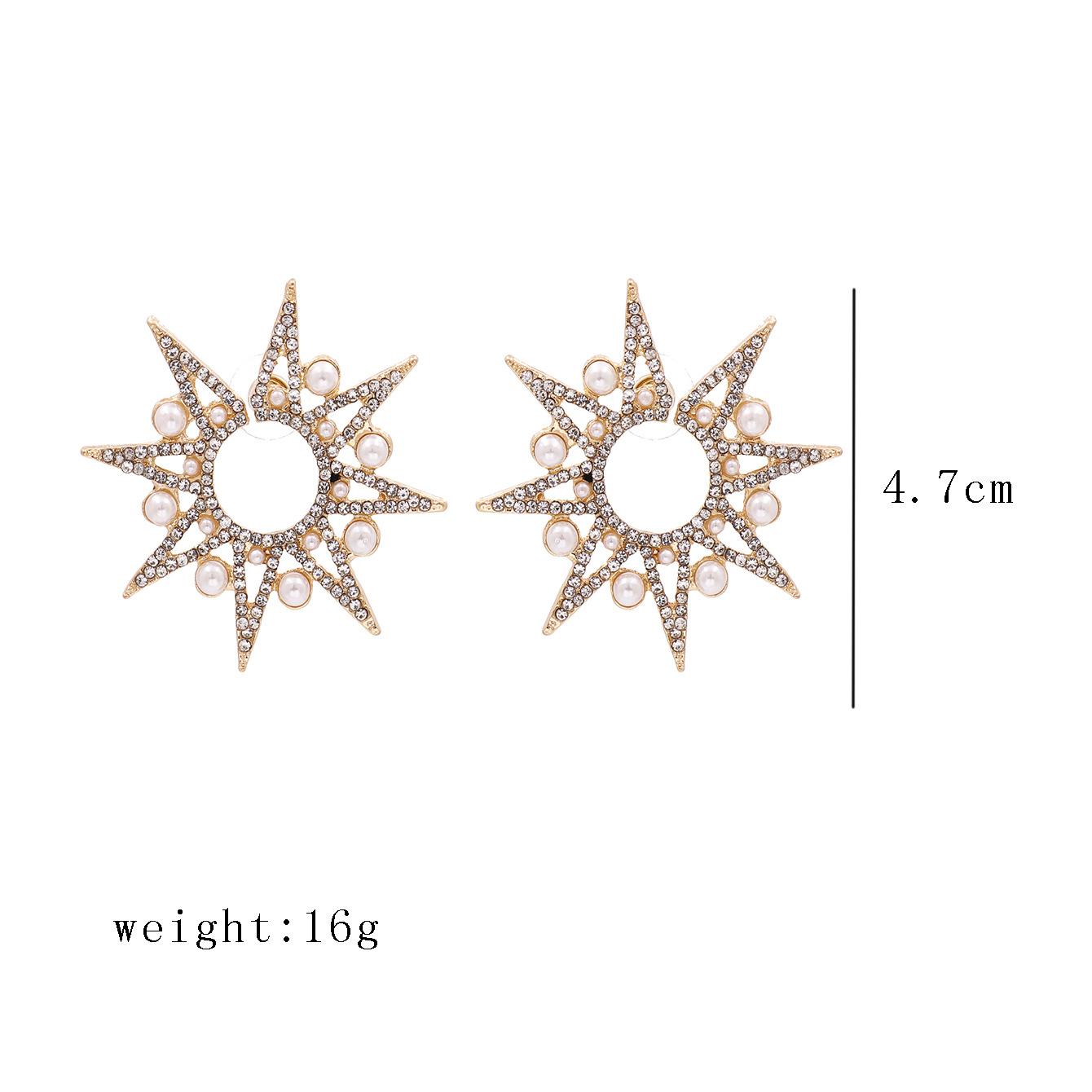 new rhinestone stars snowflake pearl earrings exaggerated large earrings wholesale nihaojewelry NHJJ227658
