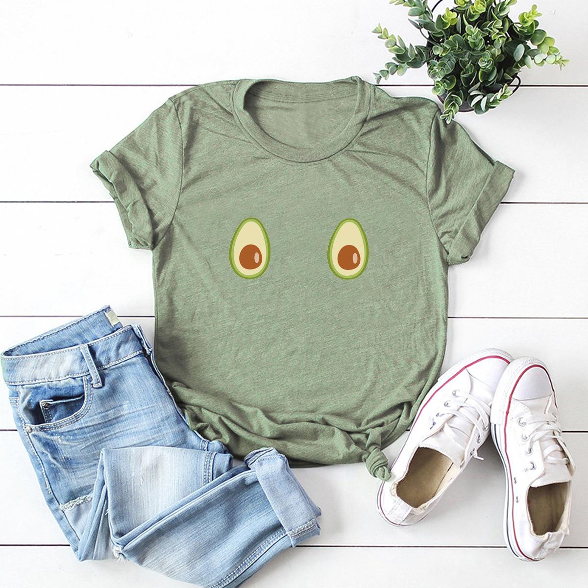 interesting spoof avocado print women's T-shirt top NSSN2582