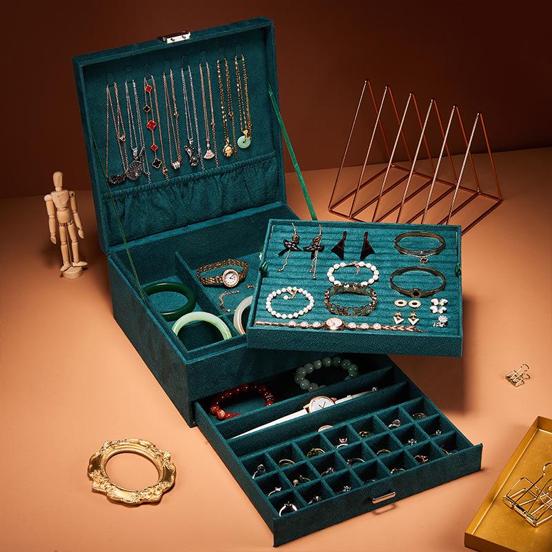 大容量首饰收纳盒耳钉耳环耳饰盒多层绒布带锁饰品盒珠宝戒指盒