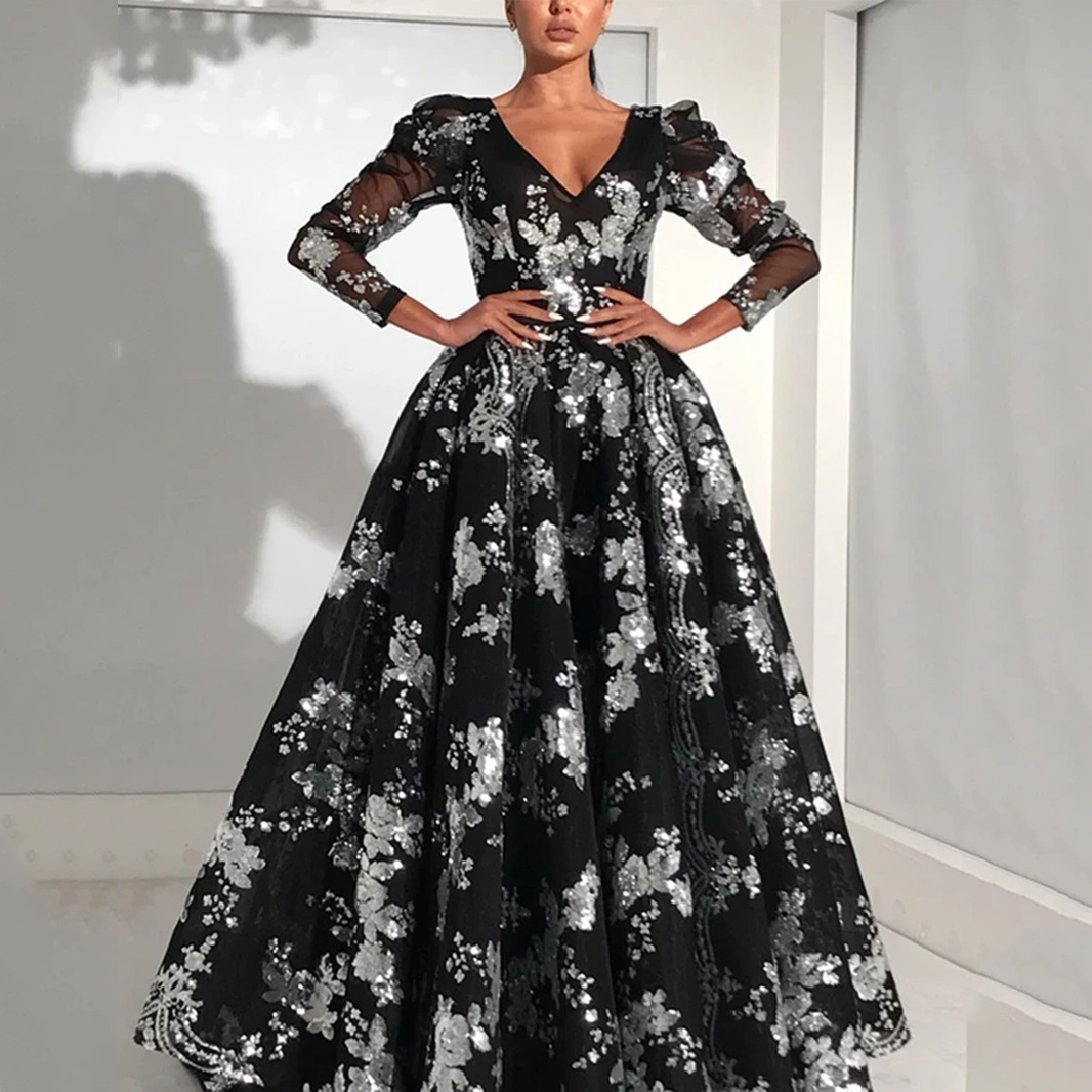 Spring 2020 new European and American foreign trade women's fast sell Amazon long sleeve Sequin swing dress
