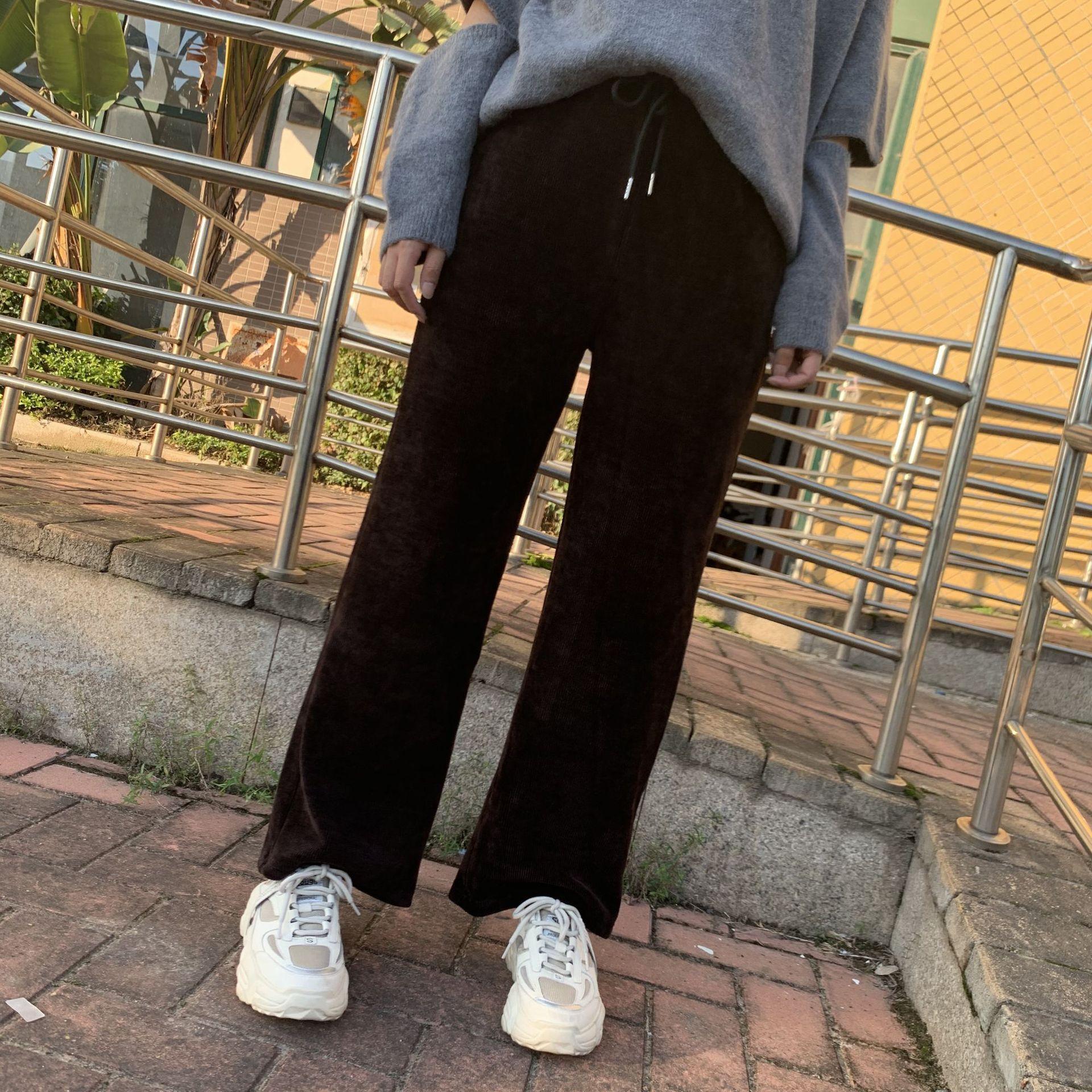 雪尼尔阔腿喇叭裤 2020秋冬女士条纹长裤 显瘦裤子