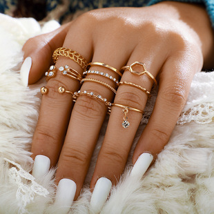 Personalized set Ring Index Finger Joint Tail Ring 8-piece