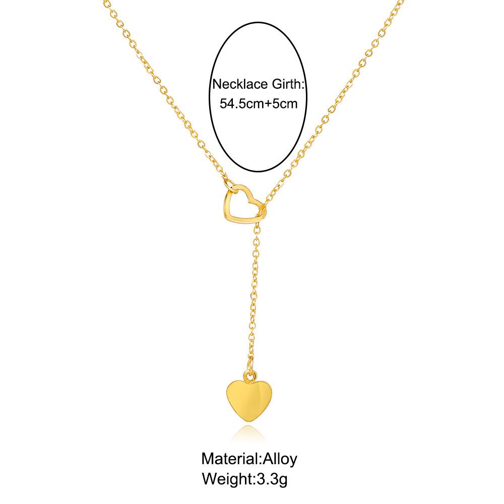 creative simple peach heart love pendant womens Yshaped necklace NHPJ287847