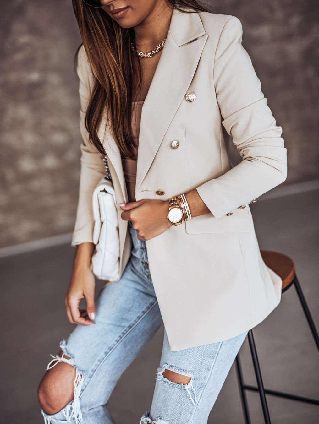 spring solid color long-sleeved double-breasted suit jacket  NSYD9381