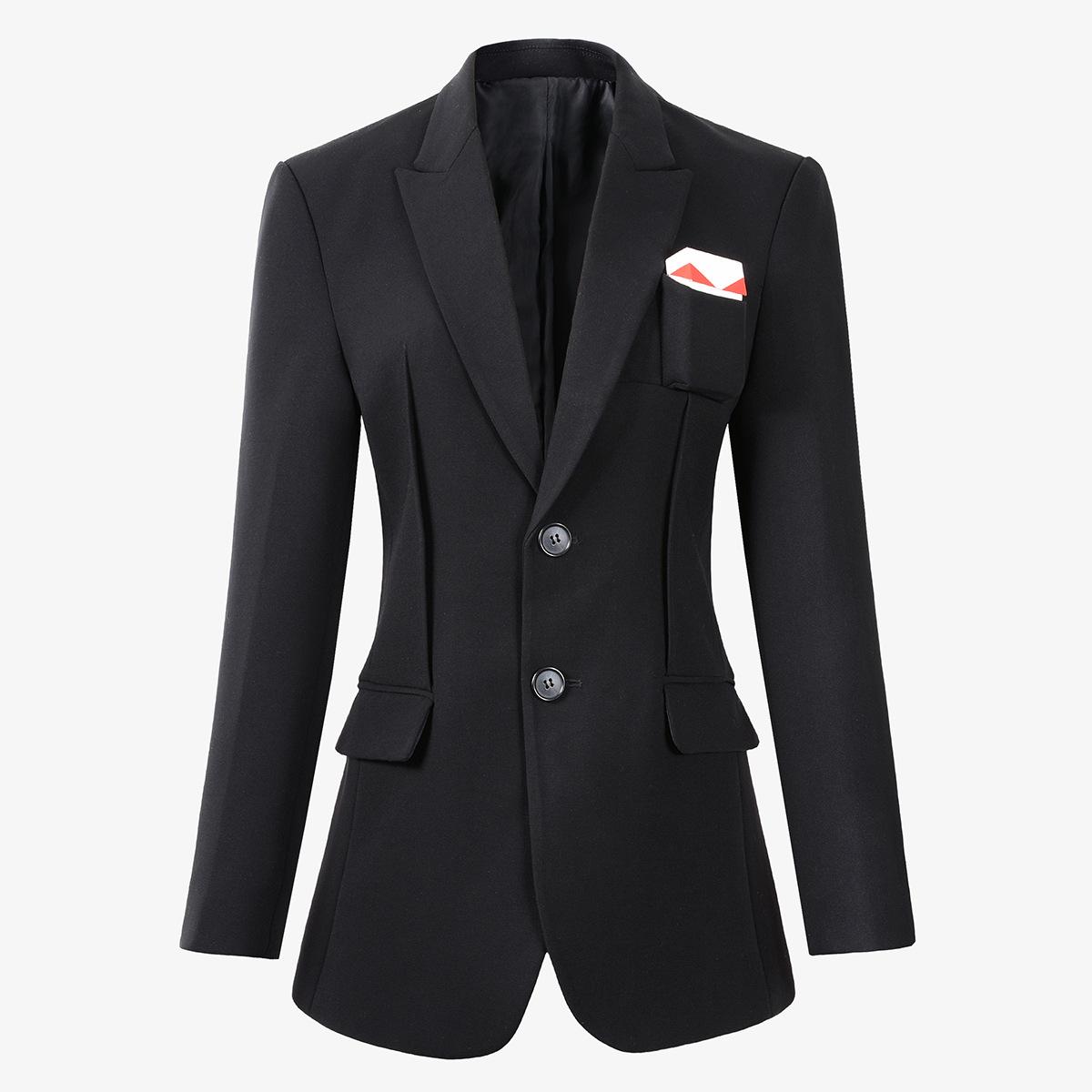 欧洲站~西装黑色翻领修身显瘦短款烟盒装饰小众设计外套女潮C2013