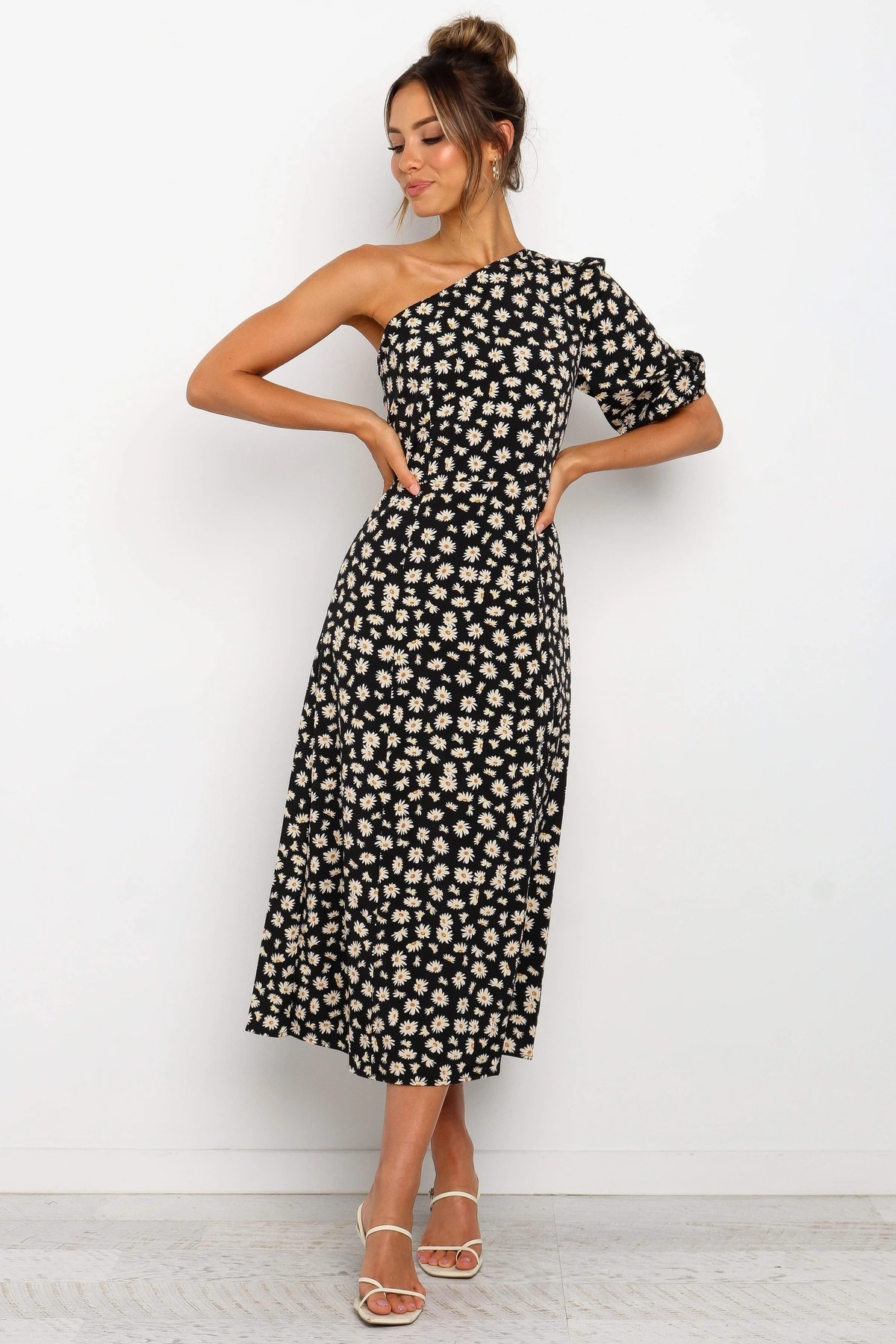 summer new style inclined collar sexy halter side slit printed dress long skirt NSYD3864