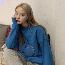 新款秋冬chic可爱刺绣樱桃卡通少女圆领套头卫衣女装韩国学院