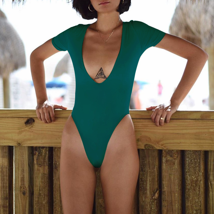 Solid color one-piece swimsuit fashion sexy deep V plus size ladies swimsuit NHHL203263