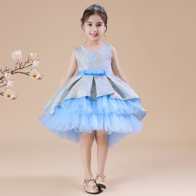Children dress mesh girl princess skirt jacquard puffy dress show dress performance dress flower children skirt