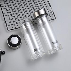 创意新款商务双层隔热高硼硅玻璃水杯定制logo开业促销活动礼品杯