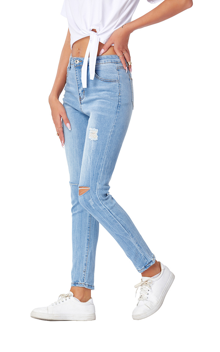 stretch slimming holes jeans  NSSY9872