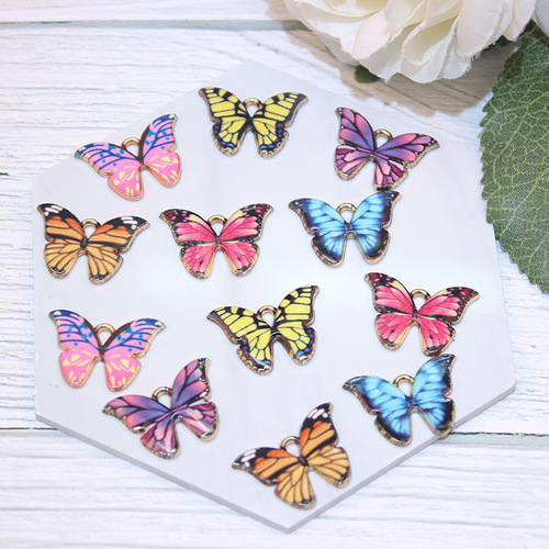 10pcs Creative DIY handmade keychain necklace bracelet earrings pendant anime printing butterfly keychain accessories