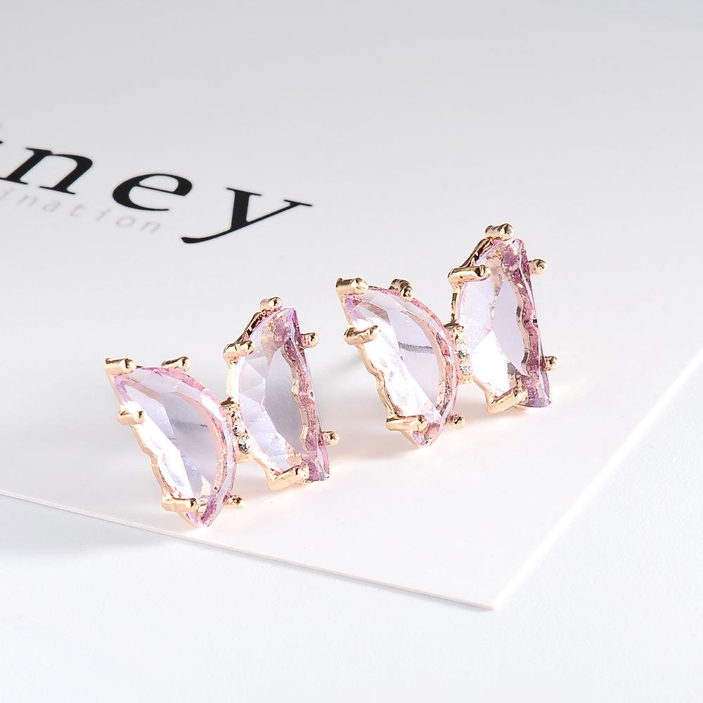 new summer super fairy transparent butterfly earrings ladies simple crystal earrings wholesale nihaojewelry NHMO235923