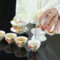 厂家直销珐琅彩茶具套装 中式创意羊脂玉瓷茶具 品茗杯 功夫茶具