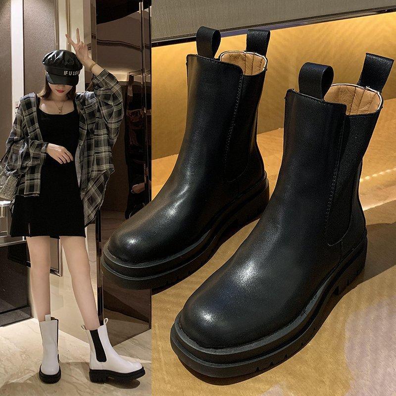 松糕厚底切尔西靴女2020冬季新款烟筒短靴网红ins潮英伦风马丁靴