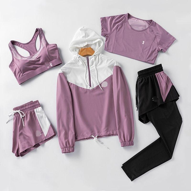 运动品牌尾货ua女士瑜伽跑步速干五件套T恤外贸工厂剪标下架甩卖