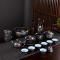 荷花功夫茶具套装陶瓷简约手绘盖碗茶壶茶杯整套礼品批发订制logo