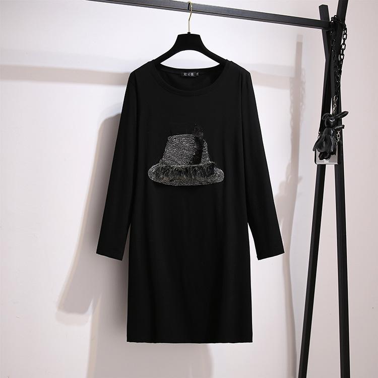 2020秋冬款胖MM加肥女装加大码长袖宽松中长款T恤连衣裙厂家直销