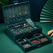 多层绒布饰品首饰收纳盒带锁抽屉耳钉耳环耳饰礼盒珠宝戒指展示盒