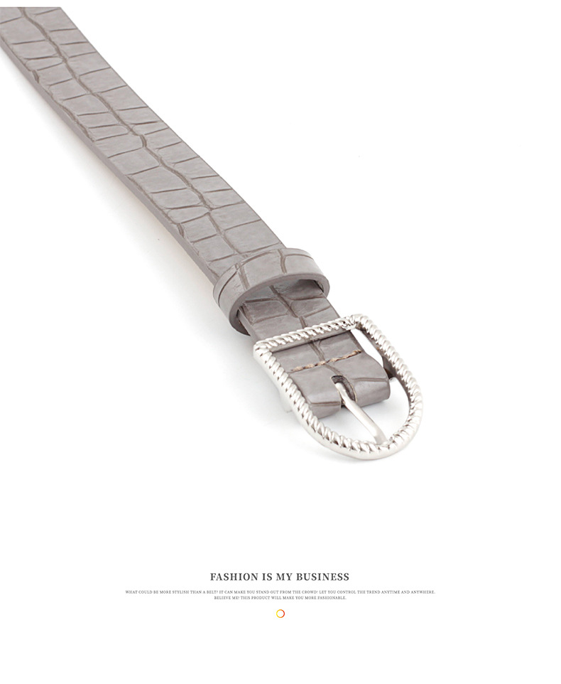 Fashion Women's Belt Wild Vintage Crocodile Pattern Fashion Metal Buckle Women's Belt NHPO198254