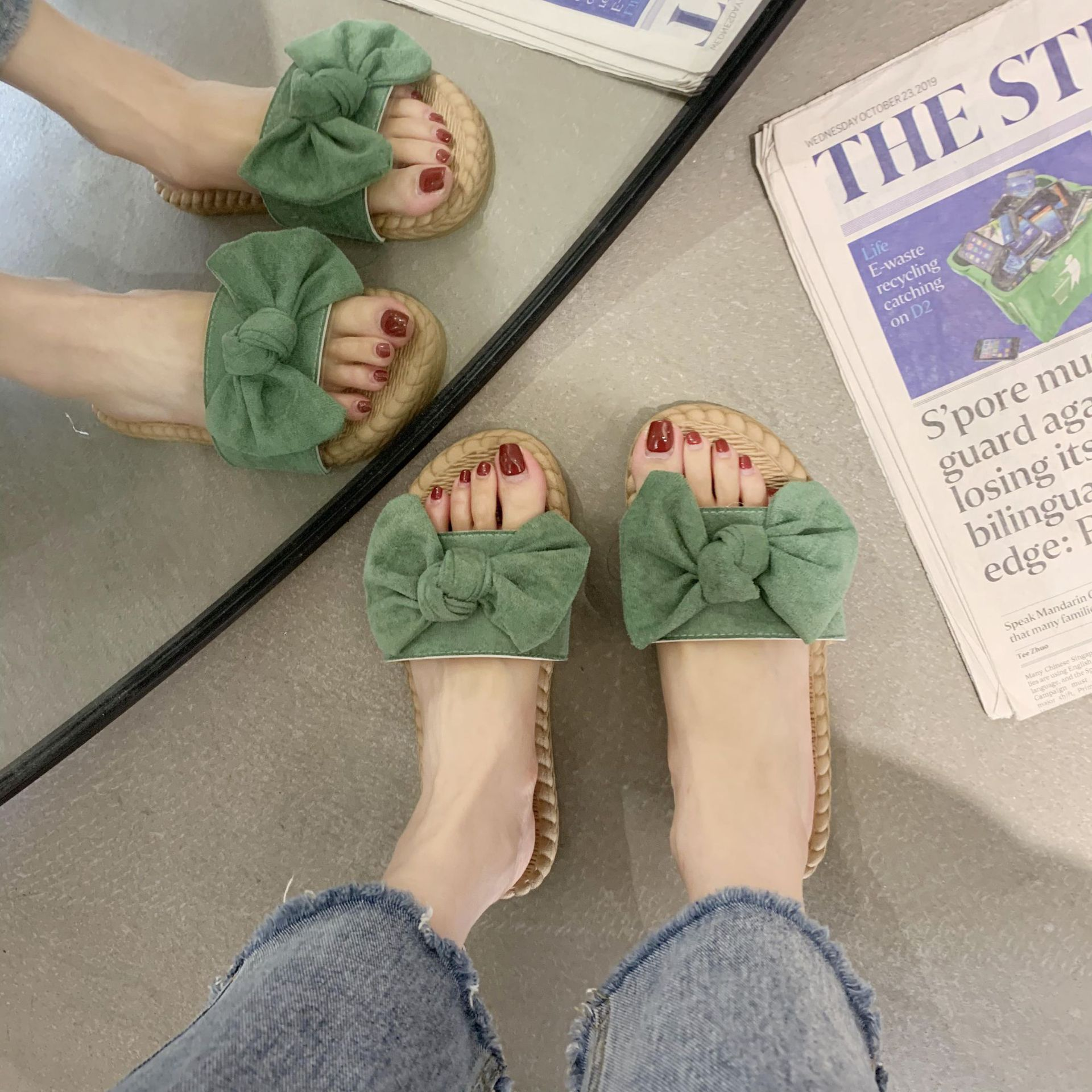 summer new round head suede hand-knotted bow all-match indoor Korean fashion word slippers women's shoes soft bottom beach wholesale nihaojewelry NHYR221845