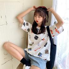 卡通印花短袖t恤女2020夏季新款韓版寬松跨境學生個性女上衣批發