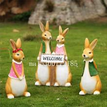迎宾卡通动物兔子庭院花园装饰户外学校布置造景创意工艺雕塑摆件