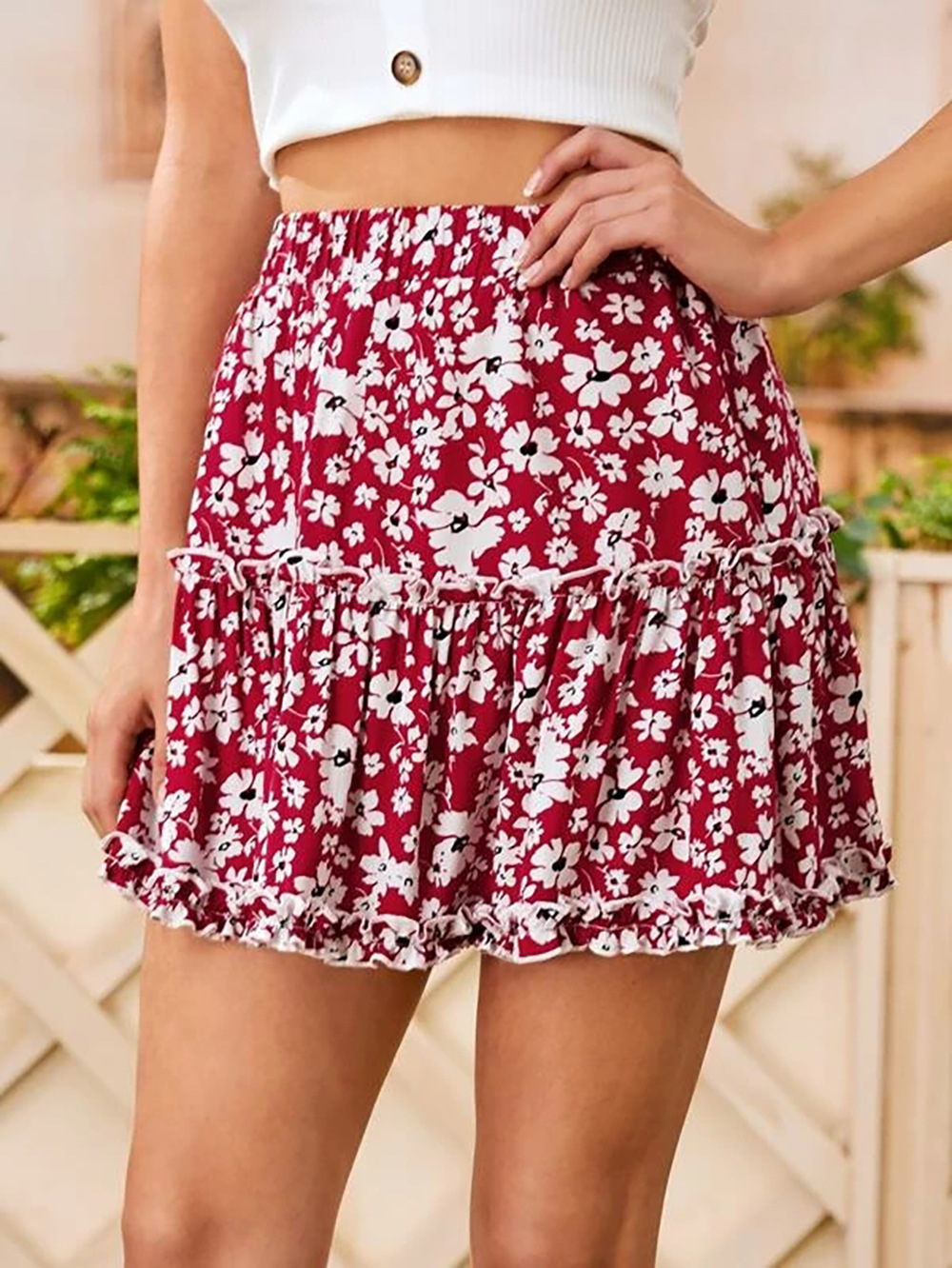 summer new red high-waisted ruffled wood ears elastic small floral skirt beach skirt NSDF1528
