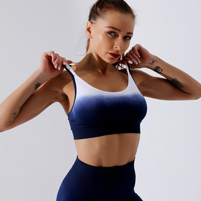 Yoga bra top for women gradient color Yoga underwear moisture wicking sweat beauty back running exercise fitness bra