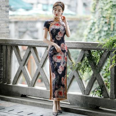 Chinese Dress cheongsam for womenCheongsam double layer long duplicate ancient style short sleeve standing collar cheongsam skirt