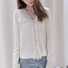 女装秋季新款2020针织衫开衫女短款上衣V领修身外搭毛衣衫 小外套