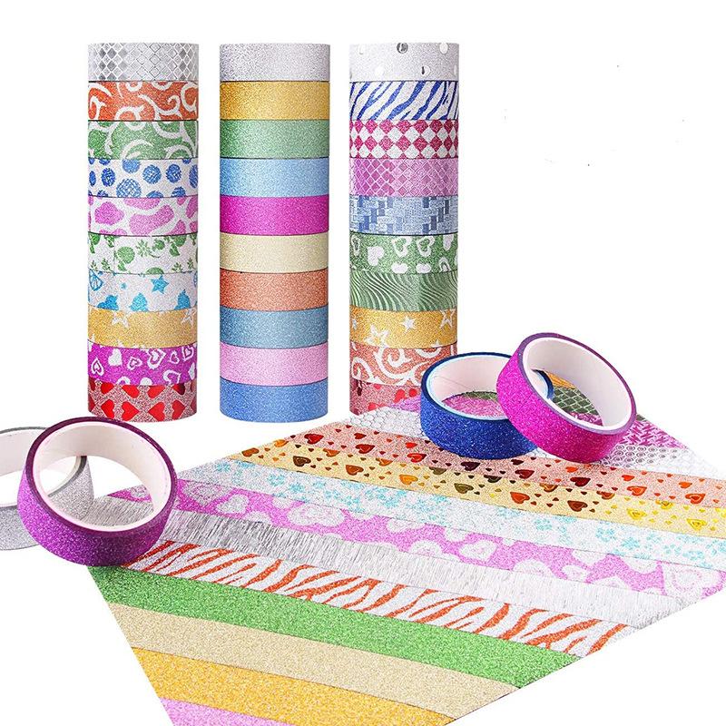 厂家直销1.5cm款创意手工diy金葱粉印花和纸胶带手撕装修贴纸