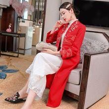 YFN2020秋冬中式唐装女 中国风 女装刺绣改良旗袍风衣妈妈长外套