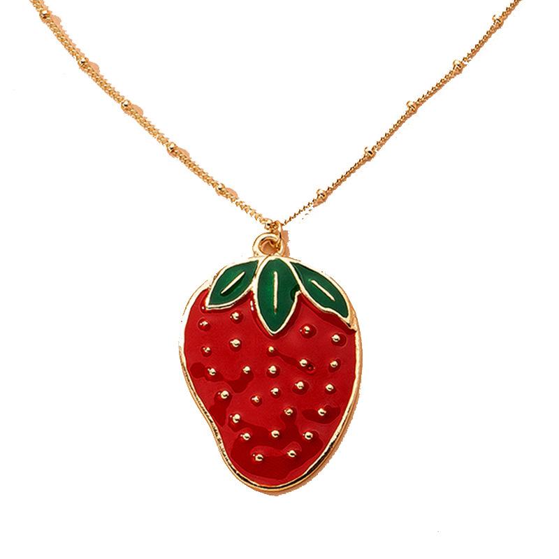 simple strawberry necklace NHAI315365