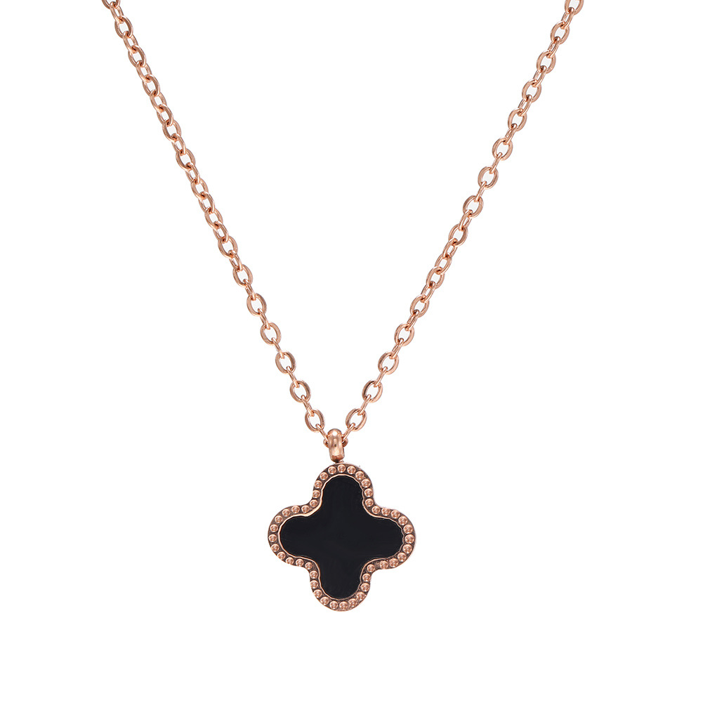 New fashion stainless steel titanium steel double-sided four-leaf clover necklace Korean rose gold wild clavicle chain pendant NHJJ208759