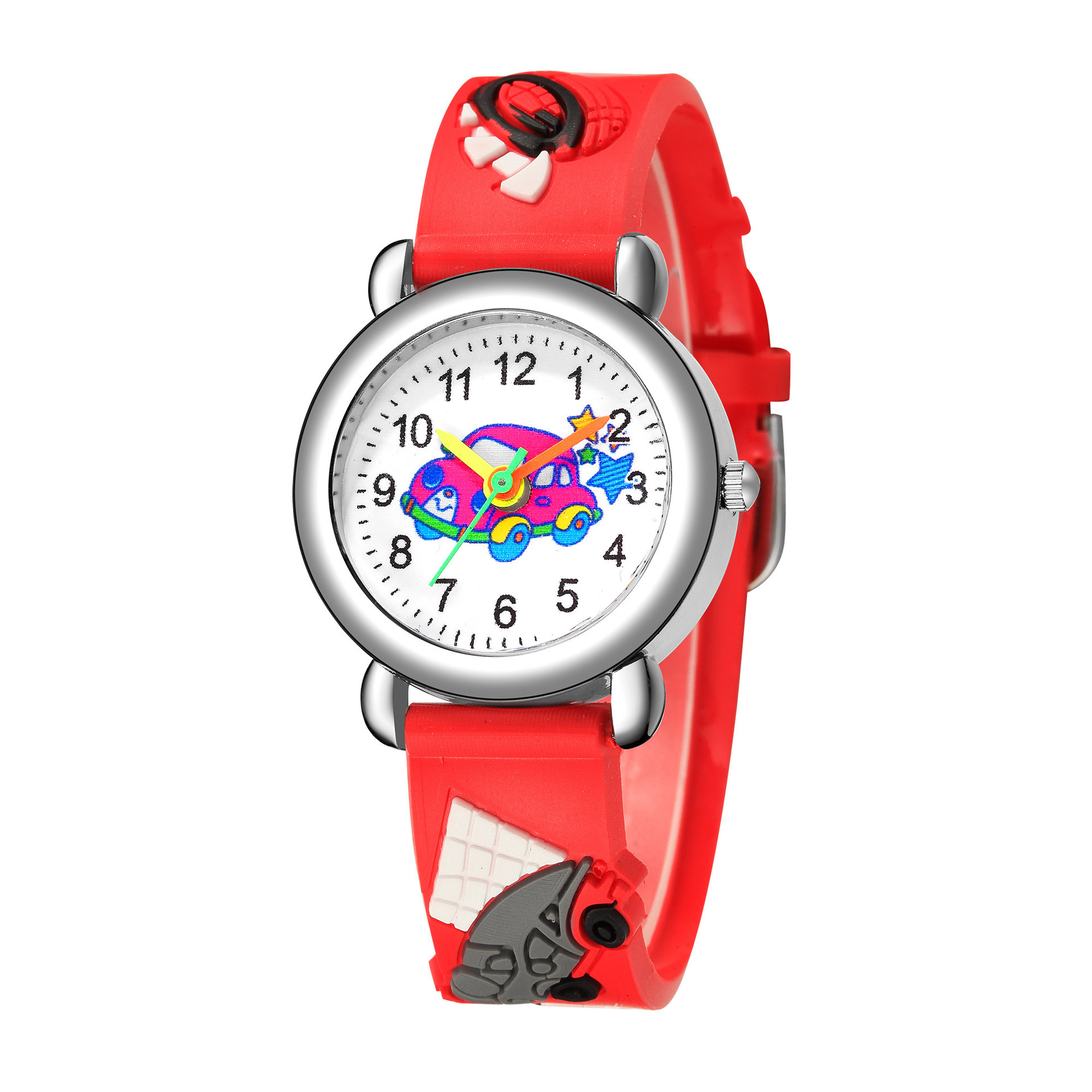 New children's watch cute colored car pattern quartz watch colored plastic band watch NHSS200499