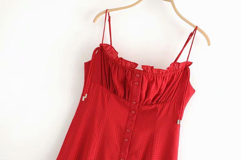 Fashion Drawstring Fungus Side Breasted Plaid Sling Dress NHAM198474