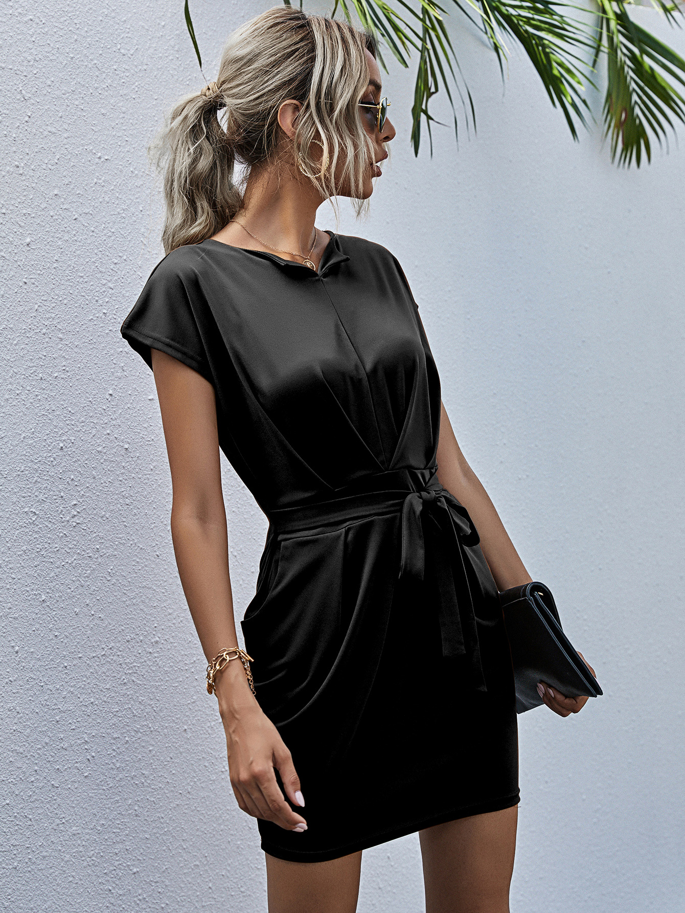 hot selling temperament round neck tie waist solid color dress  NSYD3823