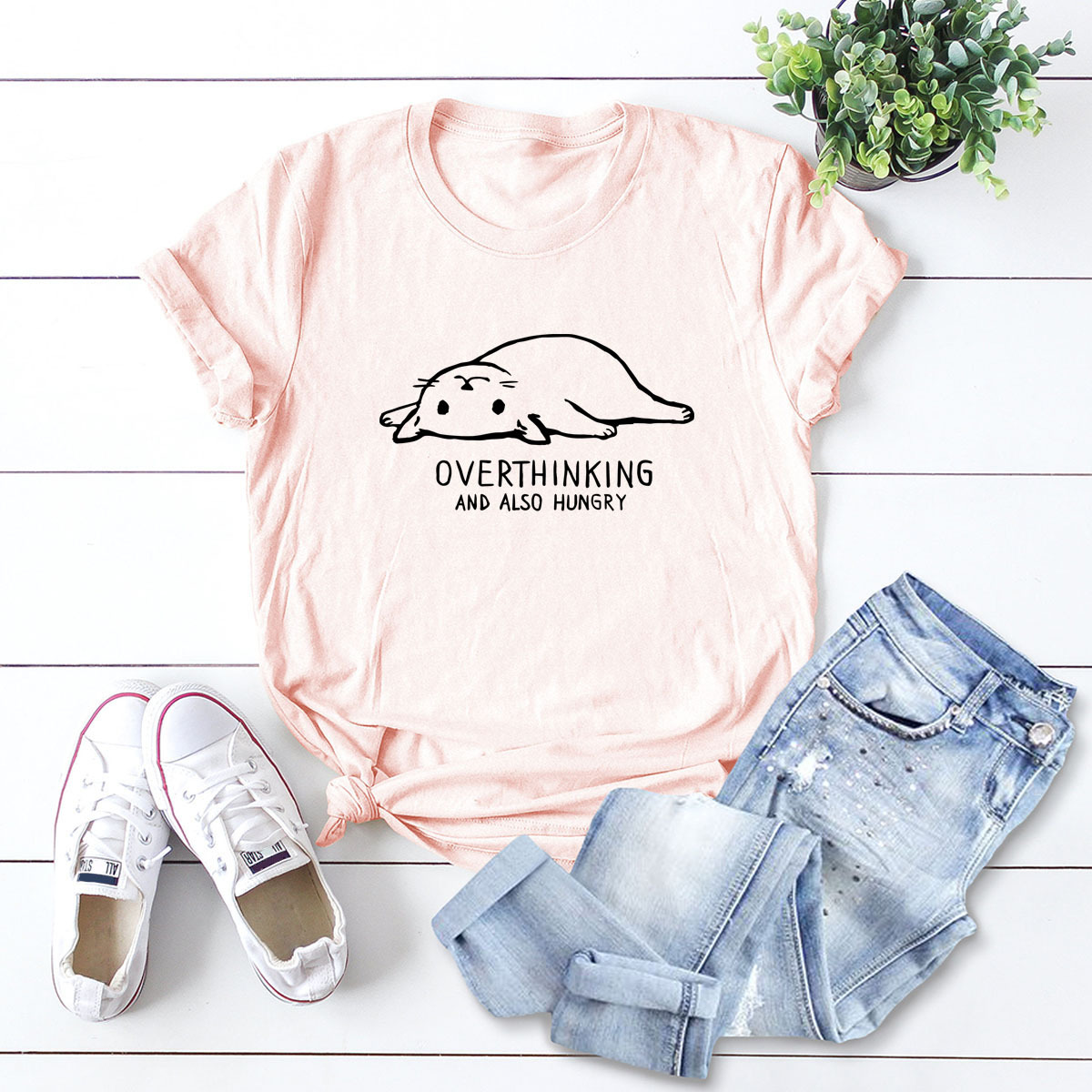 casual cute women's t-shirt easy cat round neck short-sleeved T NSSN3371