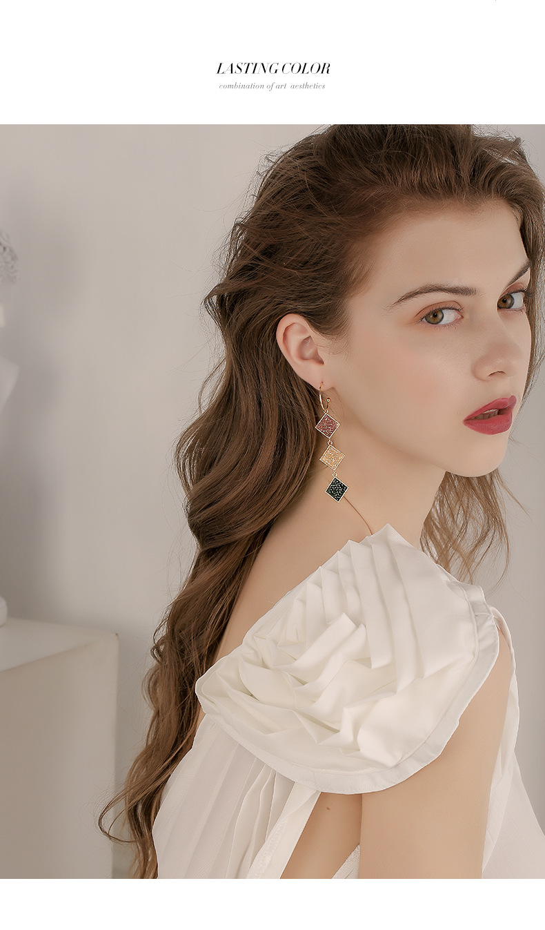 Long rhombus geometric exaggerated new fashionable sexy sparkling earrings wholesale nihaojewelry NHPP243570