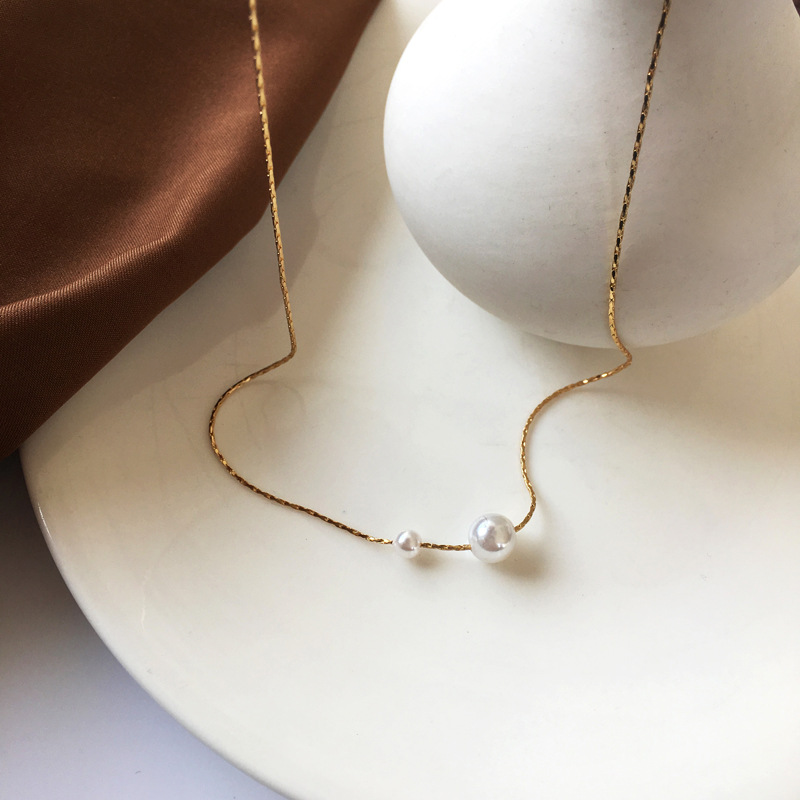 Korean pearl long alloy necklace wholesale NHBY335539
