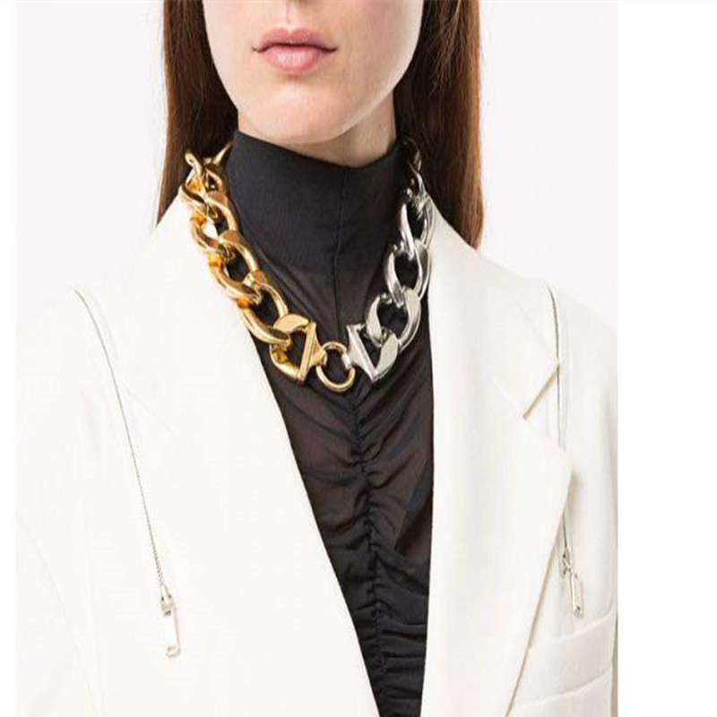 Fashion exaggerated gold and silver double color wide chain clavicle chain simple thick chain short necklace for women NHYQ257956