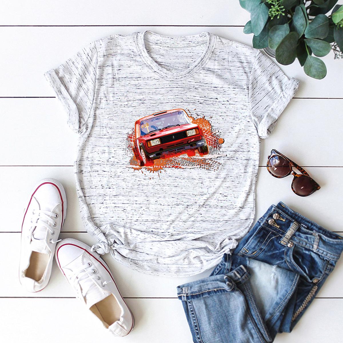 car printing pure cotton short-sleeved t-shirt women NSSN2688