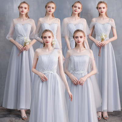 Bridesmaid dress long grey Wedding Bridesmaid group sisters dress evening dress