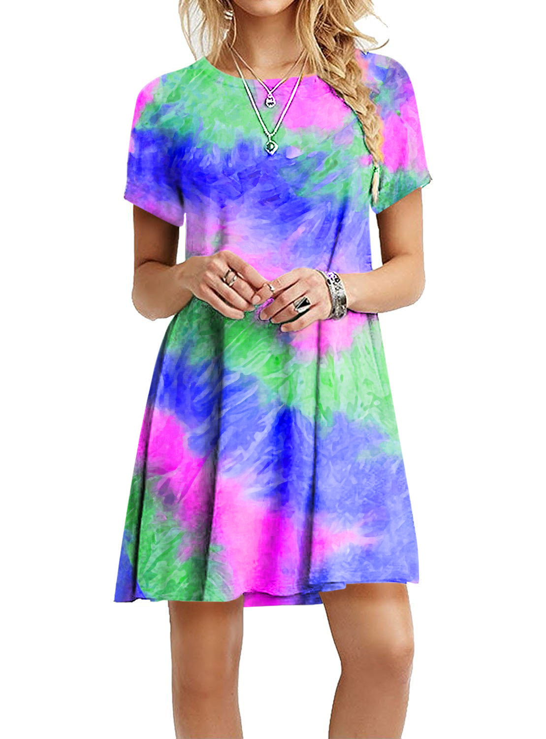 new style through slim and colorful rainbow tie-dye print dress NSYF837