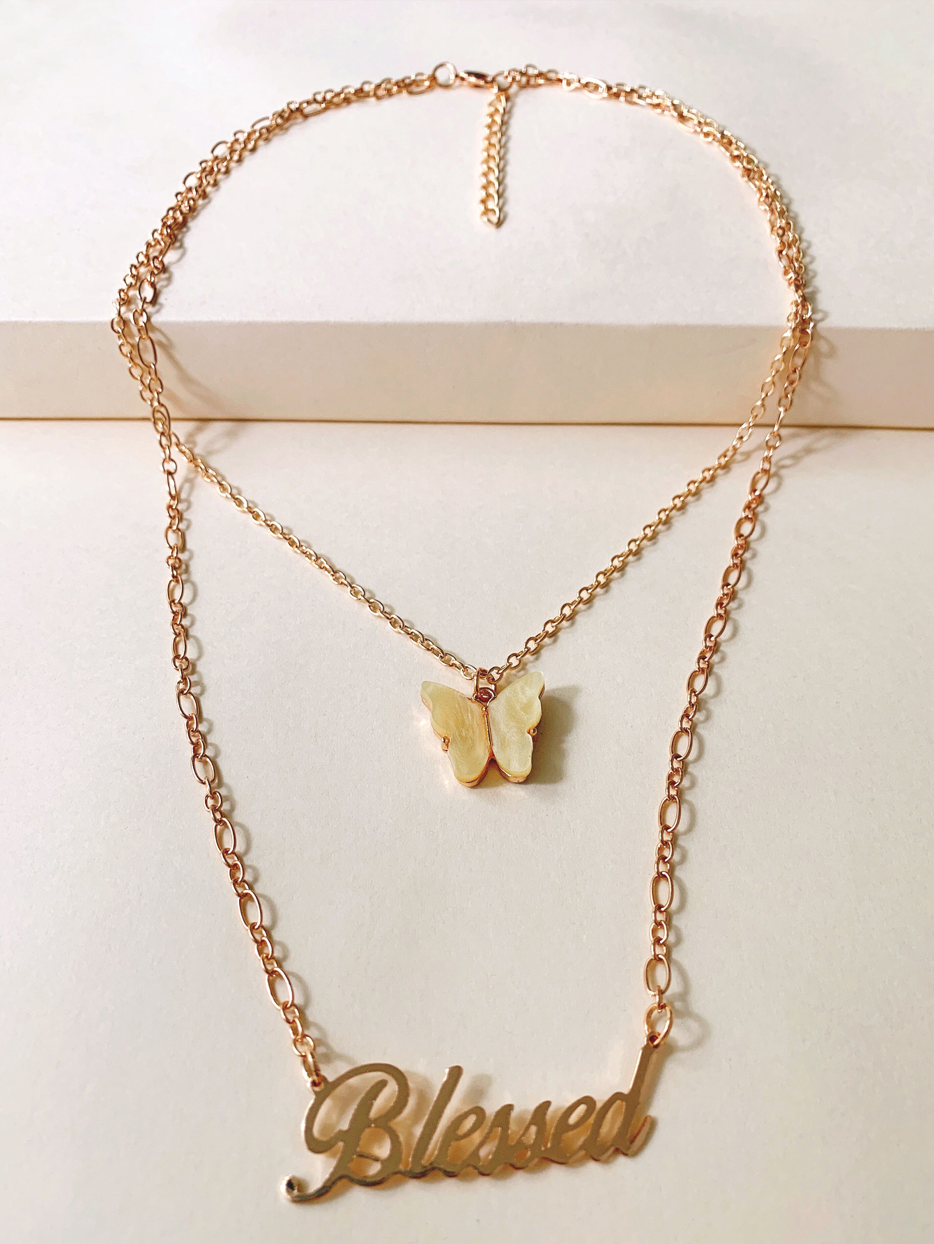 new double stacking necklace English alphabet butterfly neck chain sweater chain wholesale nihaojewelry NHUI221100