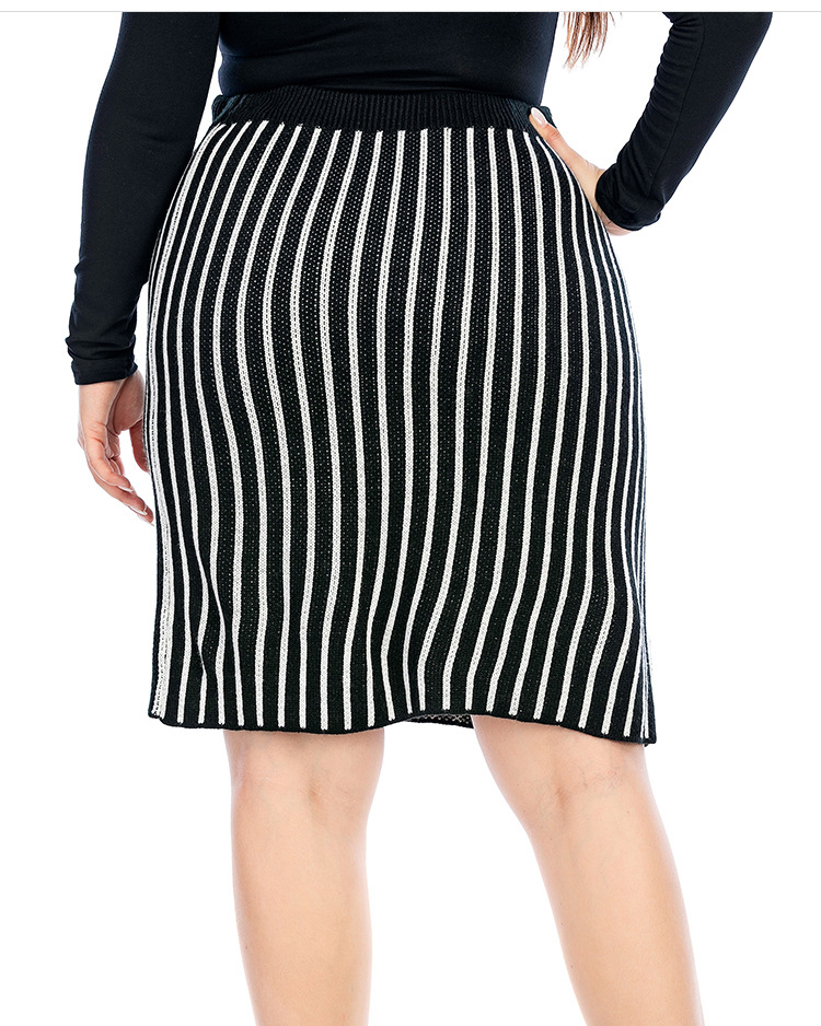 autumn and winter new plus size knitted skirt vertical stripes slim sweater bag hip skirt NSYH7149