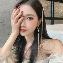 925银针都市性感女神发夹耳环一体式长款耳坠高级设计感珍珠耳钉